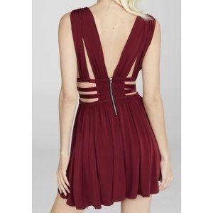 Red Express Grecian Pleated Cut-Out Mini Dress